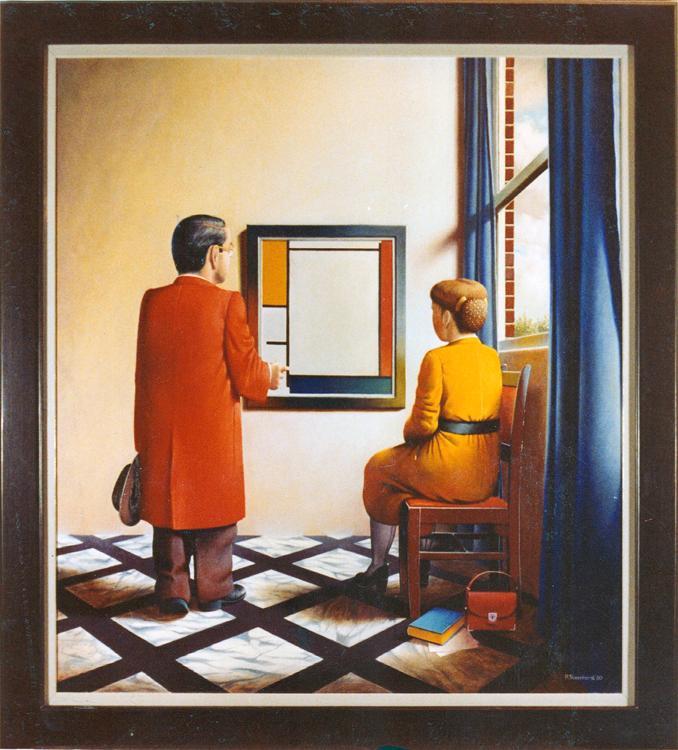 Een bezoekje aan Piet Mondriaan en Johannes Vermeer1980 105,5 x 95,5 750pixH