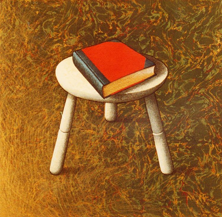 Het dagelijks leven (kruk met boek) 1982 45 x 45 cm.750pixH