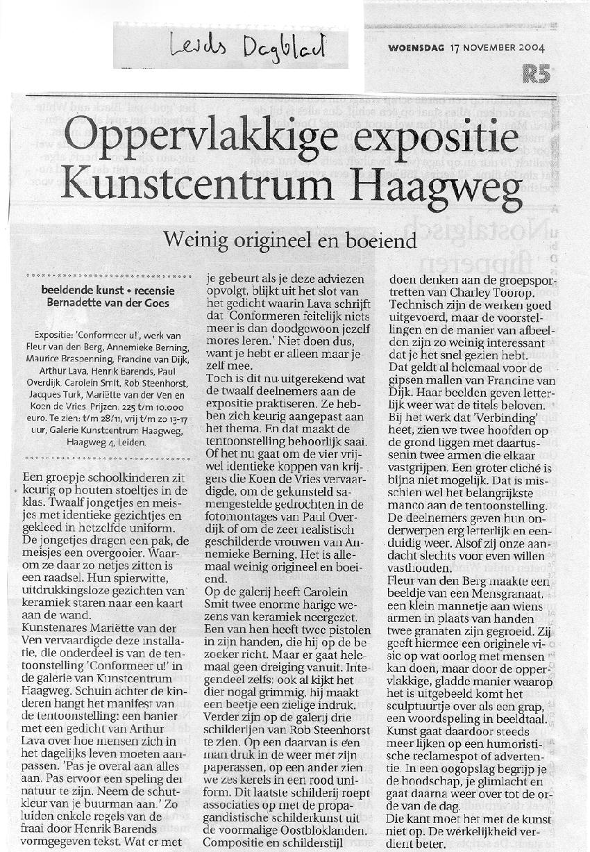 Recentie Leids Dagblad 17 11 2004 850