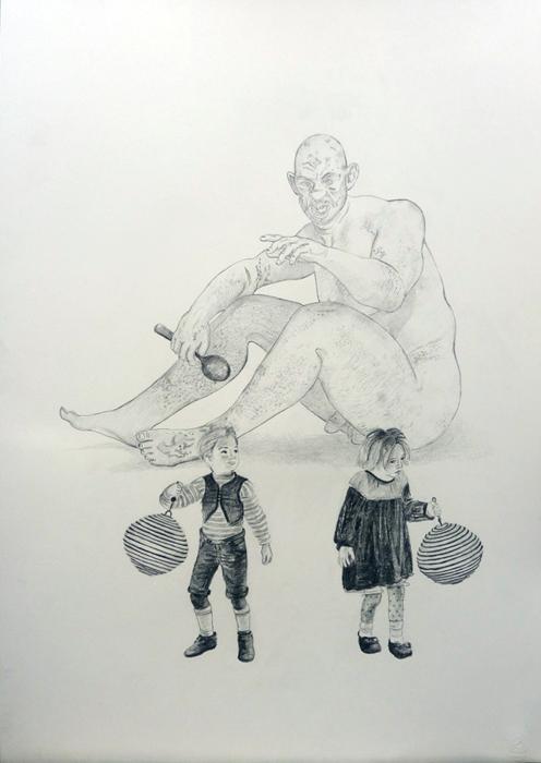 Hansel en Gretel studie (alleen figuren) potlood